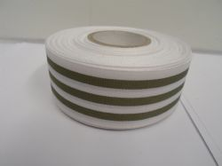 White with Olive Green Stripe grosgrain ribbon deck chair stripe double sided 15mm 38mm 2 or 20 metre roll